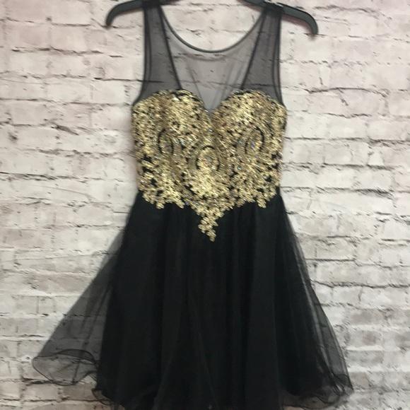 Baby Online Dresses Juniors Homecoming Dress Black Gold Short